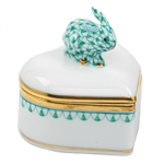 Herend Bunny Heart Box Green Fishnet