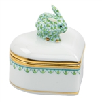 Herend Bunny Heart Box Key Lime Fishnet