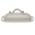Herend Golden Edge Covered Butter Dish With Branch