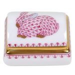 Herend Tooth Fairy Box Pink Bunny Fishnet