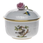 Herend Rothschild Bird Covered Sugar With Rose