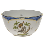 Herend Rothschild Bird Blue Round Serving Bowl