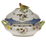 Herend Rothschild Bird Blue Border Tureen With Bird