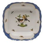 Herend Rothschild Bird Blue Square Fruit Dish