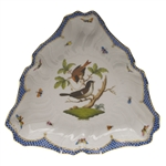 Herend Rothschild Bird Blue Border Triangle Dish