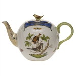 Herend Rothschild Bird Blue Tea Pot With Bird