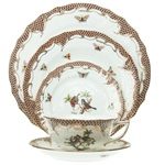 Herend Rothschild Bird Brown Five Piece Place Setting