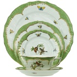 Herend Rothschild Bird Green Five Piece Place Setting