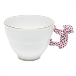 Herend Mug with Monkey Handle Raspberry Fishnet