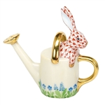 Herend Figurine Watering Can Bunny Rabbit Rust Fishnet