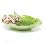 Herend Bunny on Cabbage Leaf Decorative Dish Rust Fishnet
