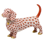 Herend Figurine Dachshund Rust Fishnet