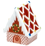 Herend Figurine Gingerbread House Rust Fishnet