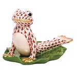 Herend Figurine Yoga Frog in Cobra Pose Rust Fishnet