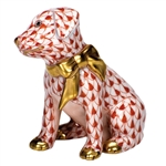 Herend Figurine Doggie Dazzle Puppy Rust Fishnet