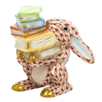 Herend Figurine Scholarly Bunny Rabbit Rust Fishnet