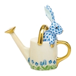 Herend Figurine Watering Can Bunny Rabbit Blue Fishnet