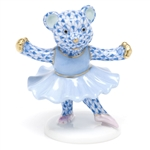 Herend Ballerina Bear Figurine Blue Fishnet