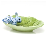 Herend Bunny on Cabbage Leaf Decorative Dish Blue Fishnet
