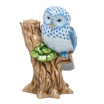 Herend Night Owl Figurine Blue Fishnet