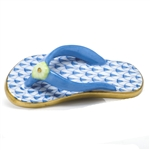 Herend Flip Flop Shoe Figurine Blue Fishnet