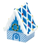 Herend Figurine Gingerbread House Blue Fishnet