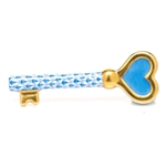 Herend Key To My Heart Figurine Blue Fishnet