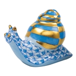 Herend Baby Snail Figurine Blue Fishnet