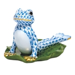 Herend Figurine Yoga Frog in Cobra Pose Blue Fishnet