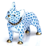 Herend Figurine Puppy Dog Frenchie Blue Fishnet