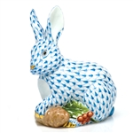 Herend Figurine Winter Bunny Rabbit Blue Fishnet
