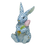 Herend Figurine Blossom Bunny Rabbit Blue Fishnet