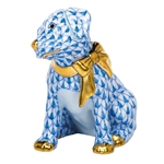 Herend Figurine Doggie Dazzle Puppy Blue Fishnet