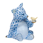 Herend Figurine Baby Bear with Bird Blue Fishnet