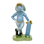 Herend Figurine Golf Bunny Rabbit Blue Fishnet