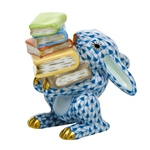 Herend Figurine Scholarly Bunny Rabbit Blue Fishnet