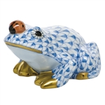 Herend Figurine Frog With Ladybug Blue Fishnet