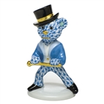 Herend Figurine Tap Dance Bear Blue Fishnet