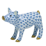 Herend Figurine Smiling Pig Blue Fishnet