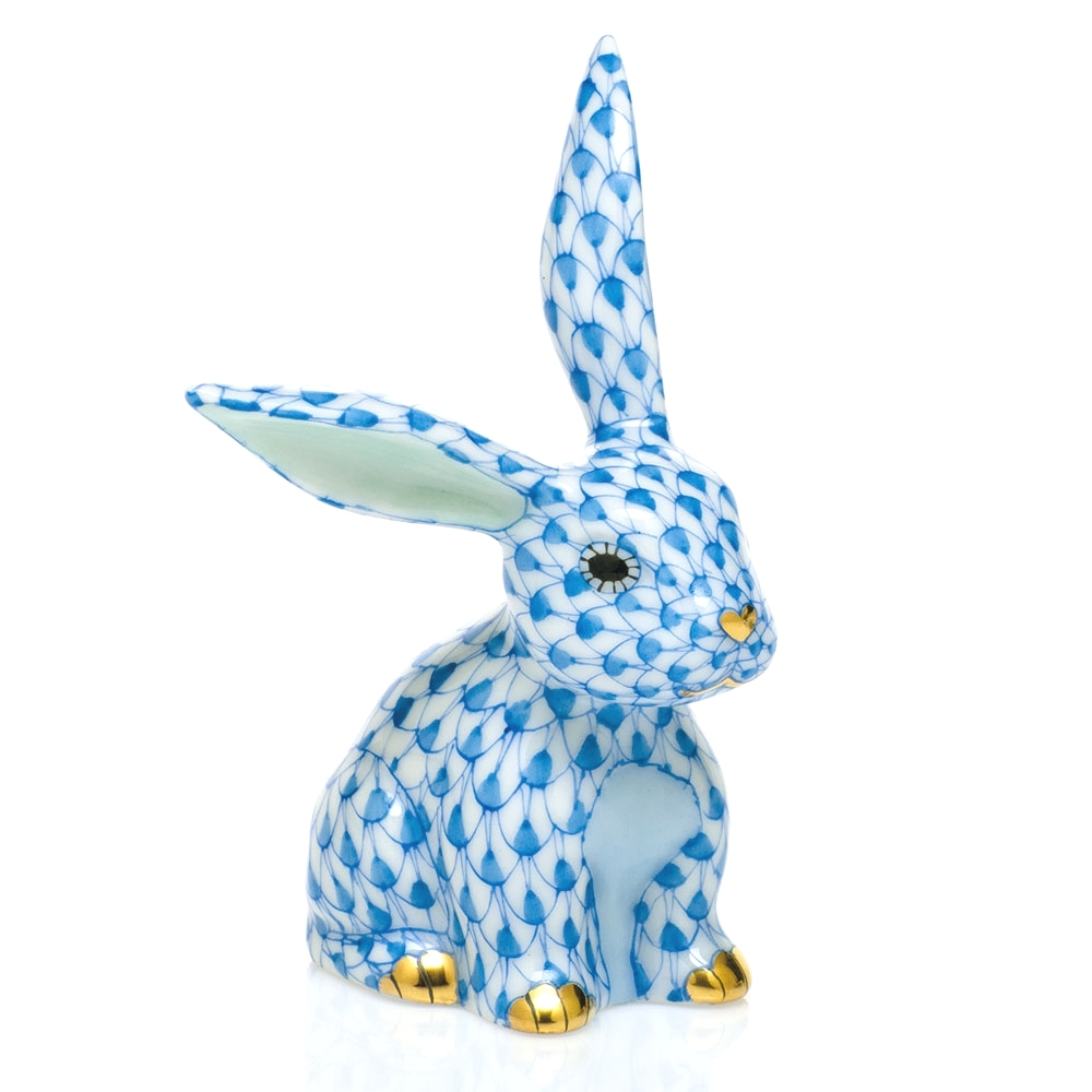 Herend Figurine Funny Bunny Rabbit Blue Fishnet