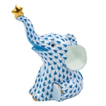 Herend Reach For The Stars Elephant Figurine Blue Fishnet