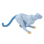Herend Small Running Cheetah Blue Fishnet