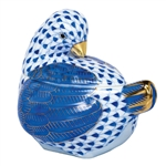 Herend Figurine Chicken Covered Box Sapphire Fishnet