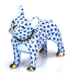 Herend Figurine Puppy Dog Frenchie Sapphire Fishnet