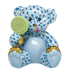 Herend Figurine Sweet Tooth Teddy Bear Sapphire Fishnet