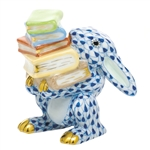 Herend Figurine Scholarly Bunny Rabbit Sapphire Fishnet