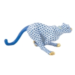 Herend Small Running Cheetah Sapphire Fishnet