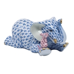 Herend Elephant and Mouse Figurine Blue Fishnet