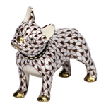 Herend Figurine Puppy Dog Frenchie Chocolate Fishnet