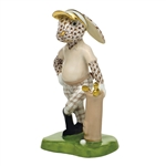 Herend Figurine Golf Bunny Rabbit Chocolate Fishnet
